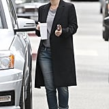 Drew Barrymore walked to her car after leaving her LA office.