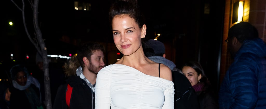 Katie Holmes Wearing a Khaite Dress With Tights and Sandals
