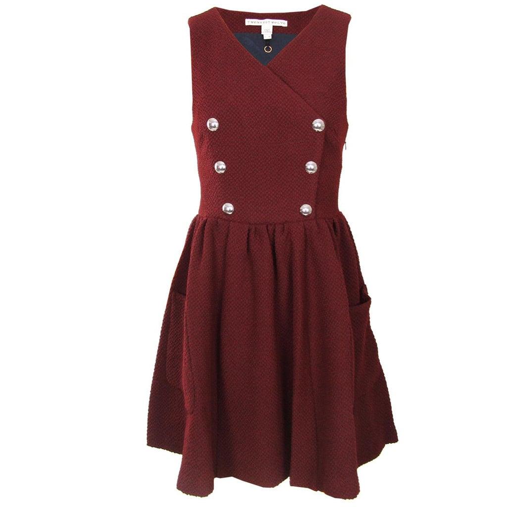 Boucle Snap Front Jumper Dress