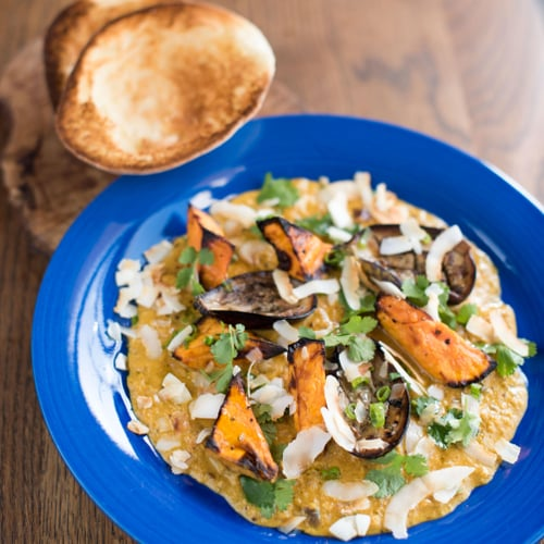 Aubergine & Sweet Potato Coconut Curry with Toasted Pita Bread