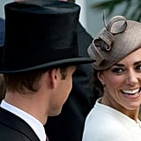 So sweet: Kate smiled at Prince William during the 2011 derby.