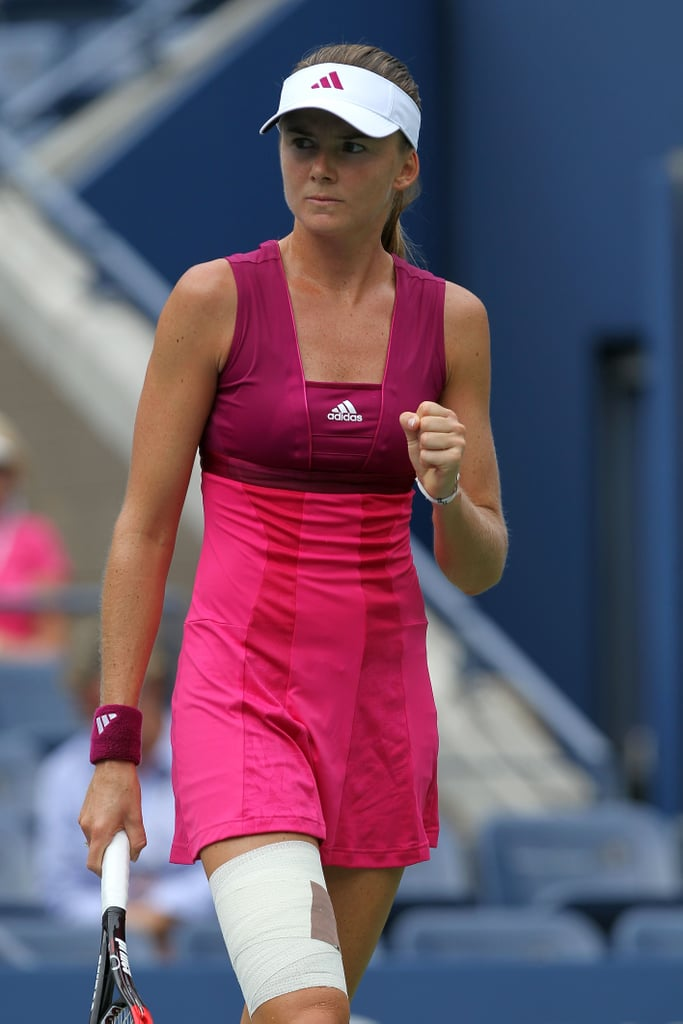Daniela Hantuchova styled herself in a feminine two-shaded pink Adidas dress for the US Open in 2010.