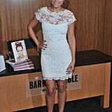 Lovely in a white lace Marchesa dress for a book signing in 2010. Lesson from Lauren: white lace is always welcome.
