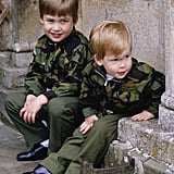 The boys wore matching army uniforms on the steps of Highgrove House in July 1986.