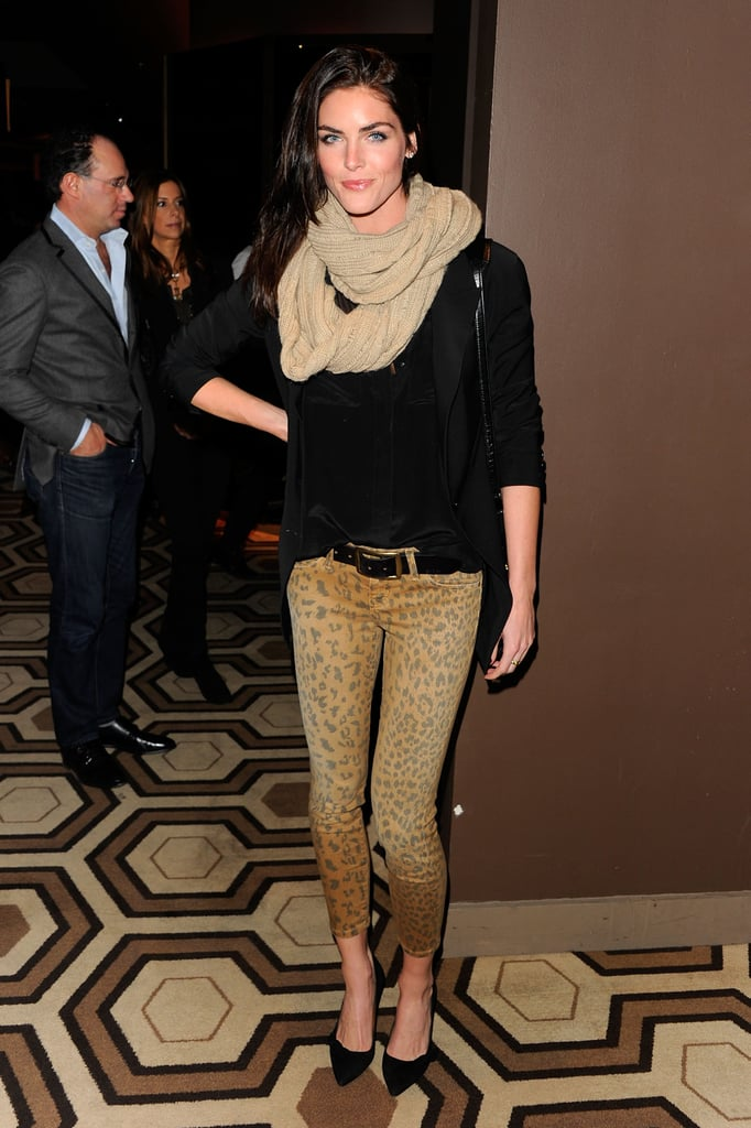 Hilary Rhoda wore sweet leopard pants and pointy black pumps for a night out on the town.