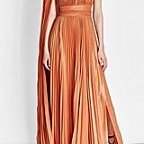Elie Saab Asymmetric Pleated Lamé Dress