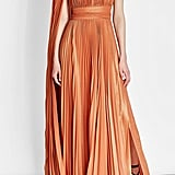 Elie Saab Asymmetric Pleated Lamé Dress