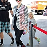 Kingston followed mom Gwen Stefani into the airport in LA.