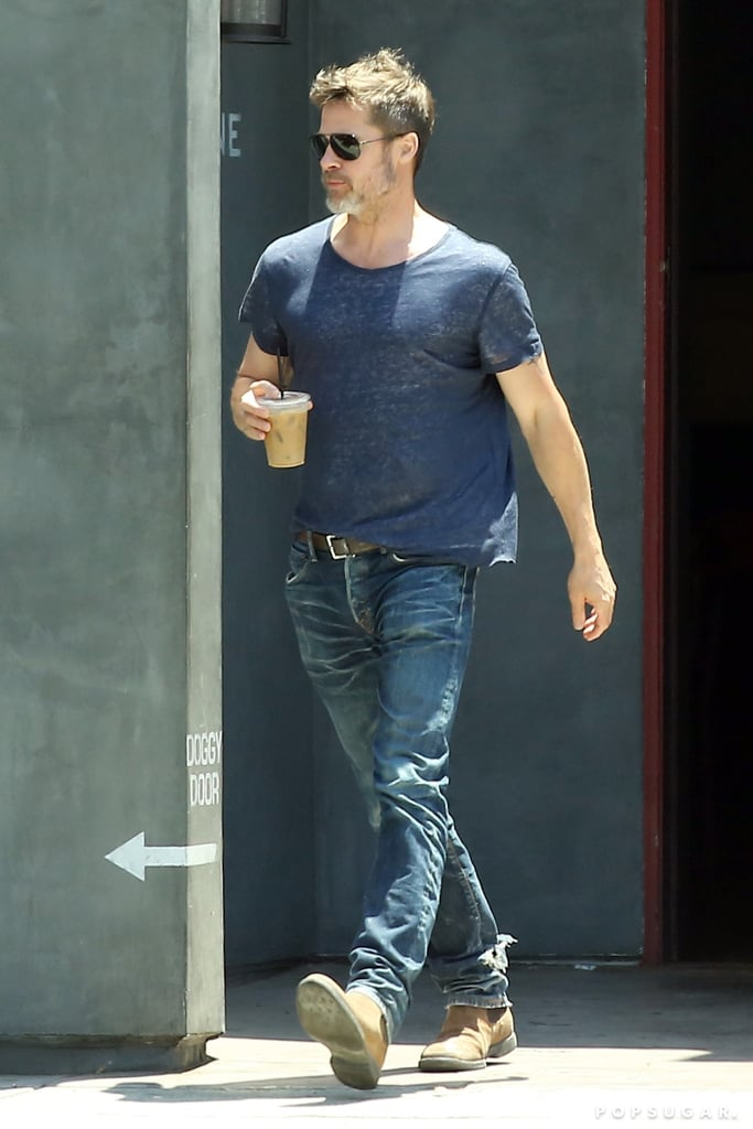 "Brad Pitt stepped out looking all sorts of sexy during a coffee run in LA on Thursday. The actor sported a blue t-shirt and jeans, as well as a bit of salt and pepper scruff on his face — seriously, how good has he been looking lately? Brad's outing comes on the heels of some exciting potential dating news; earlier this week, it was reported that he has been ""spending some time"" with actress Sienna Miller and the two have ""been on a couple of dates."" Sienna starred in his 2016 film The Lost City of Z and was most recently linked to her Foxcatcher director Bennett Miller, while Brad and wife Angelina Jolie split in September 2016.       Related:                                                                                                           All the Ladies Who Have Been Romanced by Brad Pitt"