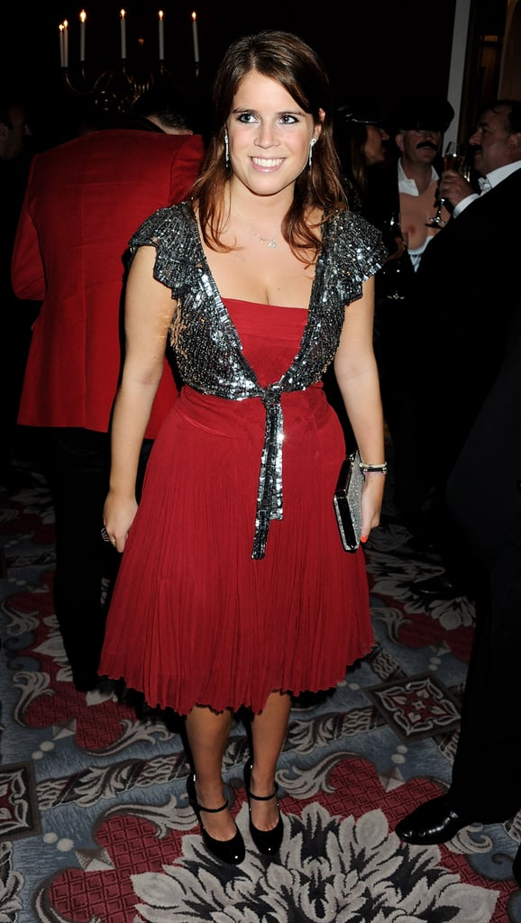 Princess Eugenie in a short red dress.