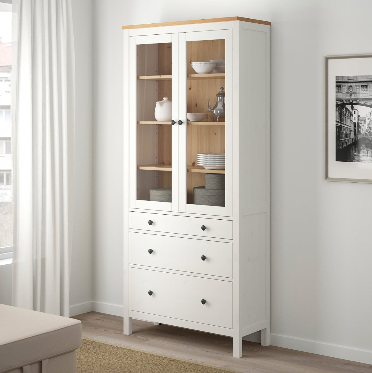 Hemnes Glass-Door Cabinet With Drawers | Small Spaces, Big ...