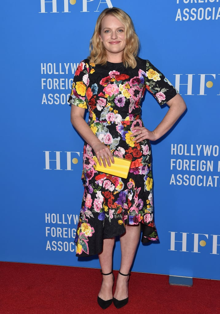 She wore a Preen by Thornton Bregazzi dress, an Edie Parker clutch, and Jennifer Meyer jewelry to the 2017 Hollywood Foreign Press Association's Grants Banquet.
