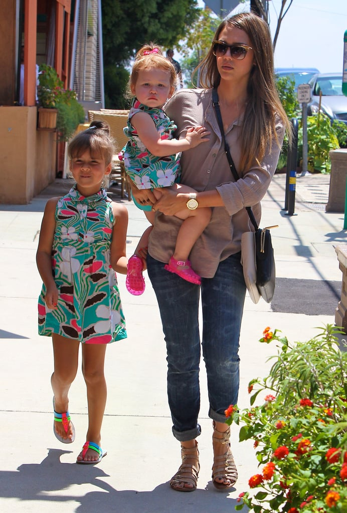 Jessica Alba dressed her daughters in adorable matching outfits for a beach party in LA on Saturday.