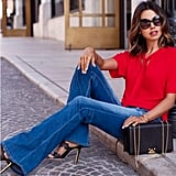 Flared Jeans, a Silk Top, and Heels