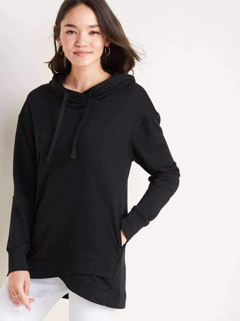 French Terry Pullover Tunic Hoodie