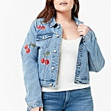 Plus Size Embroidered Cherry Denim Jacket