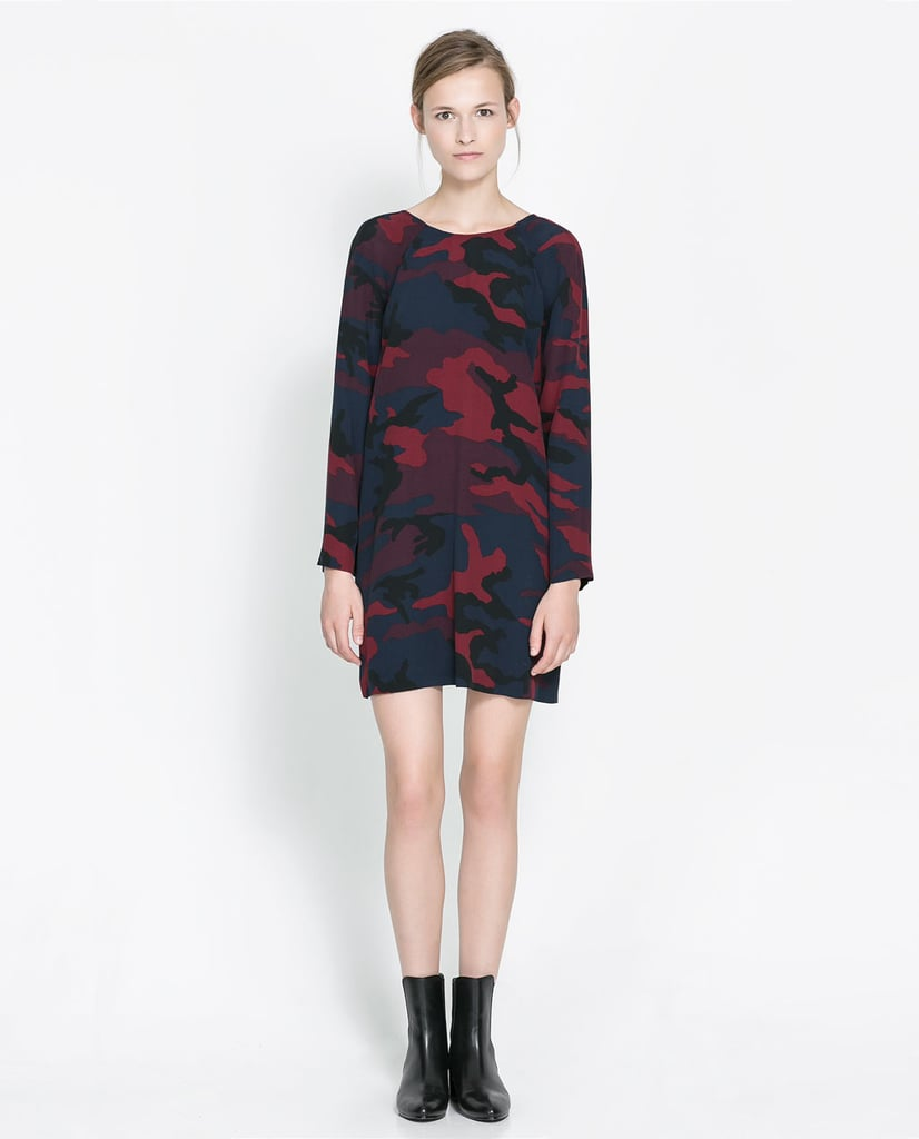 I'm getting a head start on the camo trend with this Zara printed dress ($80). For anyone who ever doubted the print's wearability, this piece is really easy — just add lace-up sandals now, ankle boots later. Need I say more?  — Hannah Weil, associate editor