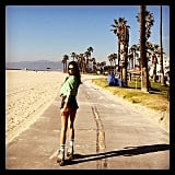 Alessandra Ambrosio did some old-school roller skating by the beach. Source: Instagram user alessandraambrosio