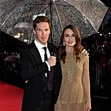 Keira Knightley and Benedict Cumberbatch braved the rain for the red carpet premiere of their film, The Imitation Game, at the London Film Festival on Wednesday.