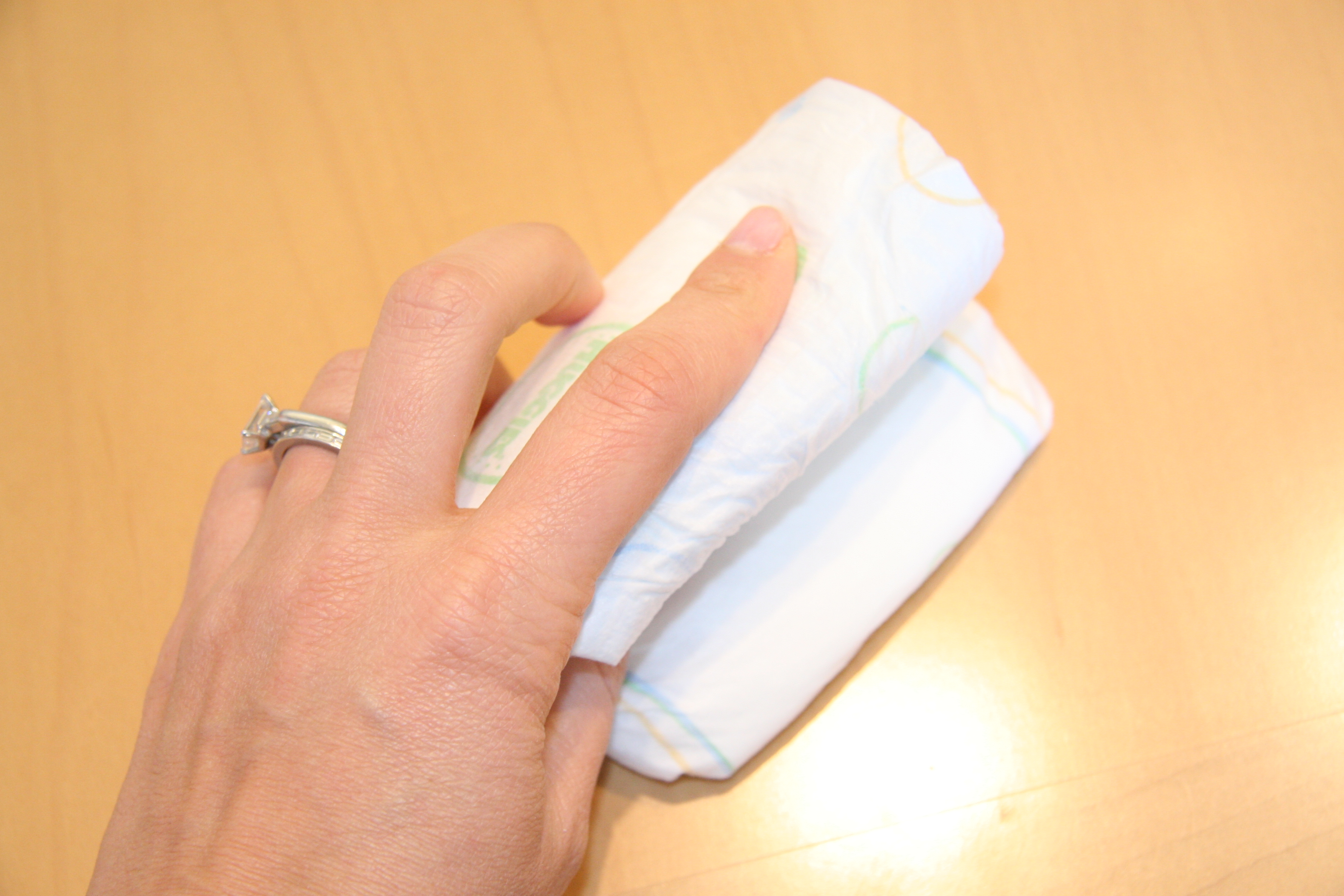 Since the loop is smaller, you will have to fold the diaper three ways.
