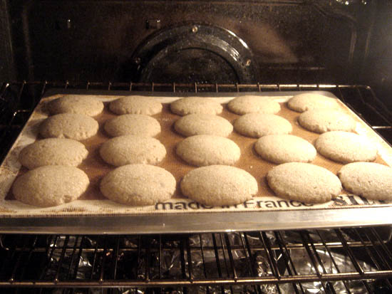 A peek at the cookies near done. They sit for about 2 min. on the cookie sheet afterward, so keep that continued amount of bakin