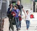 Photo Slide of Jennifer Connelly and Paul Bettany Picking Sons Stellan and Kai Up from School